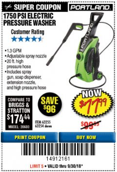 Harbor Freight Coupon 1750 PSI ELECTRIC PRESSURE WASHER Lot No. 63254/63255 Expired: 9/30/18 - $77.99