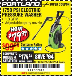 Harbor Freight Coupon 1750 PSI ELECTRIC PRESSURE WASHER Lot No. 63254/63255 Expired: 1/11/19 - $79.99