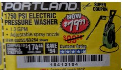 Harbor Freight Coupon 1750 PSI ELECTRIC PRESSURE WASHER Lot No. 63254/63255 Expired: 1/4/19 - $79.99