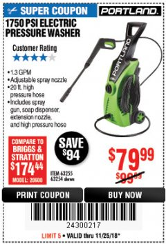 Harbor Freight Coupon 1750 PSI ELECTRIC PRESSURE WASHER Lot No. 63254/63255 Expired: 11/25/18 - $79.99