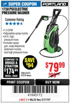 Harbor Freight Coupon 1750 PSI ELECTRIC PRESSURE WASHER Lot No. 63254/63255 Expired: 2/17/19 - $79.99