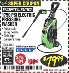 Harbor Freight Coupon 1750 PSI ELECTRIC PRESSURE WASHER Lot No. 63254/63255 Expired: 4/30/19 - $79.99