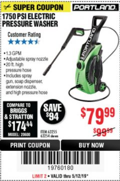 Harbor Freight Coupon 1750 PSI ELECTRIC PRESSURE WASHER Lot No. 63254/63255 Expired: 5/12/19 - $79.99