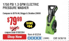 Harbor Freight Coupon 1750 PSI ELECTRIC PRESSURE WASHER Lot No. 63254/63255 Valid Thru: 9/30/19 - $79.99