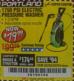 Harbor Freight Coupon 1750 PSI ELECTRIC PRESSURE WASHER Lot No. 63254/63255 Valid Thru: 1/9/20 - $79.99