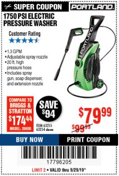 Harbor Freight Coupon 1750 PSI ELECTRIC PRESSURE WASHER Lot No. 63254/63255 Valid Thru: 9/29/19 - $79.99