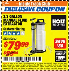 Harbor Freight ITC Coupon 2.3 GAL. MANUAL FLUID EXTRACTOR Lot No. 62643 Expired: 8/31/18 - $79.99