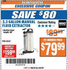 Harbor Freight ITC Coupon 2.3 GAL. MANUAL FLUID EXTRACTOR Lot No. 62643 Expired: 9/4/18 - $79.99