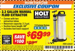 Harbor Freight ITC Coupon 2.3 GAL. MANUAL FLUID EXTRACTOR Lot No. 62643 Expired: 8/31/19 - $69.99
