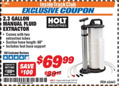 Harbor Freight ITC Coupon 2.3 GAL. MANUAL FLUID EXTRACTOR Lot No. 62643 Expired: 12/31/19 - $69.99