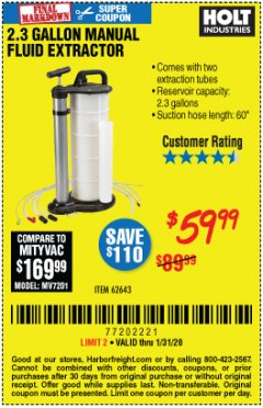 Harbor Freight Coupon 2.3 GAL. MANUAL FLUID EXTRACTOR Lot No. 62643 Expired: 1/31/20 - $59.99
