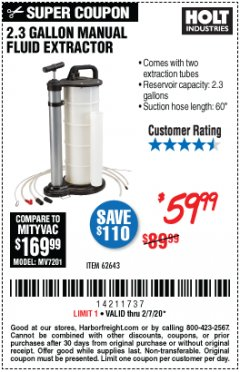 Harbor Freight Coupon 2.3 GAL. MANUAL FLUID EXTRACTOR Lot No. 62643 Expired: 2/7/20 - $59.99