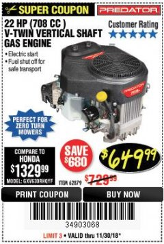 Harbor Freight Coupon 22 HP (708 CC) V-TWIN VERTICAL SHAFT Lot No. 62879 Expired: 11/30/18 - $649.99