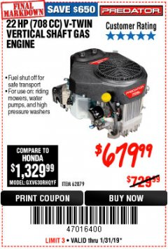 Harbor Freight Coupon 22 HP (708 CC) V-TWIN VERTICAL SHAFT Lot No. 62879 Expired: 1/31/19 - $679.99