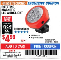 Harbor Freight ITC Coupon ROTATING MAGNETIC LED WORK LIGHT Lot No. 63422/62955/64066/63766 Expired: 1/21/20 - $4.99