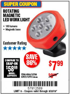 Harbor Freight Coupon ROTATING MAGNETIC LED WORK LIGHT Lot No. 63422/62955/64066/63766 Expired: 8/20/18 - $7.99