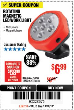 Harbor Freight Coupon ROTATING MAGNETIC LED WORK LIGHT Lot No. 63422/62955/64066/63766 Expired: 10/28/18 - $6.99