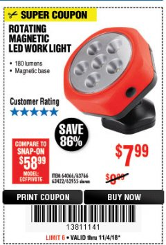 Harbor Freight Coupon ROTATING MAGNETIC LED WORK LIGHT Lot No. 63422/62955/64066/63766 Expired: 11/4/18 - $7.99