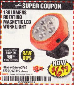 Harbor Freight Coupon ROTATING MAGNETIC LED WORK LIGHT Lot No. 63422/62955/64066/63766 Expired: 10/31/19 - $6.99