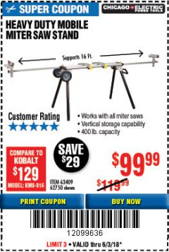 Harbor Freight Coupon HEAVY DUTY MOBILE MITER SAW STAND Lot No. 63409/62750 Expired: 6/3/18 - $99.99