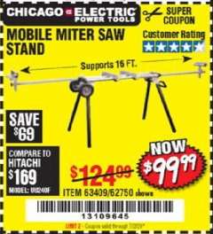 Harbor Freight Coupon CHICAGO ELECTRIC HEAVY DUTY MOBILE MITER SAW STAND Lot No. 63409/62750 EXPIRES: 7/2/20 - $99.99