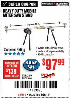 Harbor Freight Coupon HEAVY DUTY MOBILE MITER SAW STAND Lot No. 63409/62750 Expired: 8/26/18 - $97.99