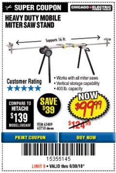 Harbor Freight Coupon HEAVY DUTY MOBILE MITER SAW STAND Lot No. 63409/62750 Expired: 9/30/18 - $99.99