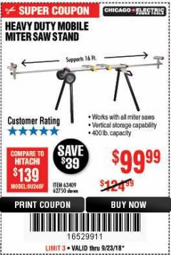 Harbor Freight Coupon HEAVY DUTY MOBILE MITER SAW STAND Lot No. 63409/62750 Expired: 9/23/18 - $99.99