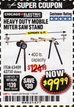 Harbor Freight Coupon HEAVY DUTY MOBILE MITER SAW STAND Lot No. 63409/62750 Expired: 11/30/18 - $99.99