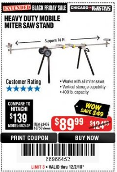 Harbor Freight Coupon HEAVY DUTY MOBILE MITER SAW STAND Lot No. 63409/62750 Expired: 12/2/18 - $89.99