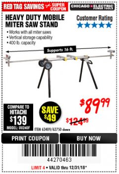 Harbor Freight Coupon HEAVY DUTY MOBILE MITER SAW STAND Lot No. 63409/62750 Expired: 12/31/18 - $89.99
