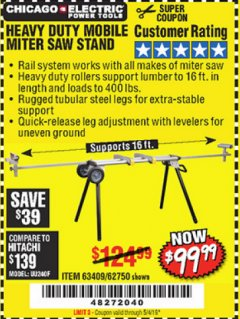 Harbor Freight Coupon HEAVY DUTY MOBILE MITER SAW STAND Lot No. 63409/62750 Valid Thru: 5/4/19 - $99.99