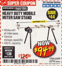 Harbor Freight Coupon HEAVY DUTY MOBILE MITER SAW STAND Lot No. 63409/62750 Expired: 2/28/19 - $94.99