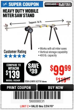 Harbor Freight Coupon HEAVY DUTY MOBILE MITER SAW STAND Lot No. 63409/62750 Expired: 2/24/19 - $99.99