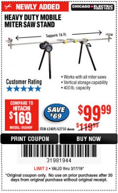 Harbor Freight Coupon HEAVY DUTY MOBILE MITER SAW STAND Lot No. 63409/62750 Expired: 3/17/19 - $99.99