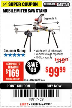 Harbor Freight Coupon HEAVY DUTY MOBILE MITER SAW STAND Lot No. 63409/62750 Expired: 4/7/19 - $99.99