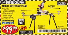 Harbor Freight Coupon HEAVY DUTY MOBILE MITER SAW STAND Lot No. 63409/62750 Expired: 3/31/19 - $99.99
