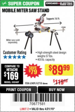 Harbor Freight Coupon HEAVY DUTY MOBILE MITER SAW STAND Lot No. 63409/62750 Valid Thru: 4/21/19 - $89.99