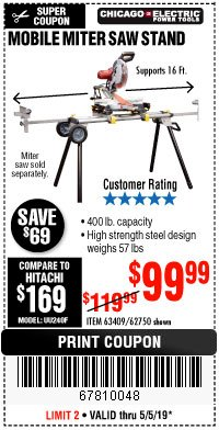 Harbor Freight Coupon HEAVY DUTY MOBILE MITER SAW STAND Lot No. 63409/62750 Expired: 5/5/19 - $99.99