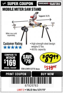 Harbor Freight Coupon HEAVY DUTY MOBILE MITER SAW STAND Lot No. 63409/62750 EXPIRES: 5/31/19 - $89.99