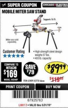 Harbor Freight Coupon HEAVY DUTY MOBILE MITER SAW STAND Lot No. 63409/62750 Expired: 5/31/19 - $89.99