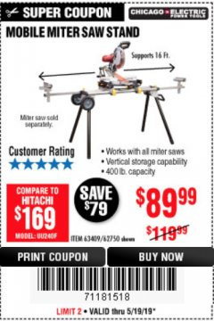 Harbor Freight Coupon HEAVY DUTY MOBILE MITER SAW STAND Lot No. 63409/62750 Expired: 5/19/19 - $89.99
