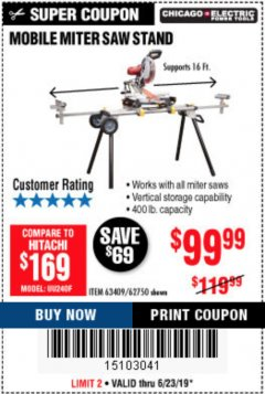Harbor Freight Coupon HEAVY DUTY MOBILE MITER SAW STAND Lot No. 63409/62750 Expired: 6/30/19 - $99.99