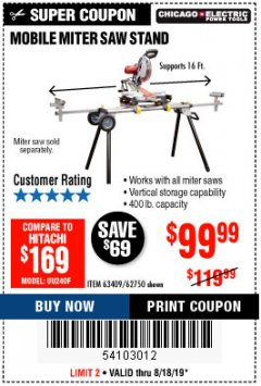 Harbor Freight Coupon HEAVY DUTY MOBILE MITER SAW STAND Lot No. 63409/62750 Expired: 8/18/19 - $99.99