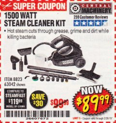 Harbor Freight Coupon 1500 WATT STEAM CLEANER KIT Lot No. 8823/63042 Expired: 2/28/19 - $89.99