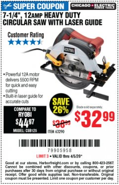 "Harbor Freight Coupon 7-1/4"", 12 AMP HEAVY DUTY CIRCULAR SAW WITH LASER GUIDE SYSTEM Lot No. 63290 Expired: 6/30/20 - $32.99"