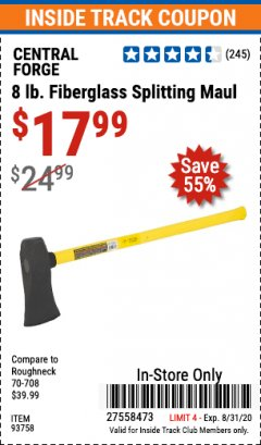 Harbor Freight ITC Coupon 8 LB. FIBERGLASS SLEDGE HAMMER Lot No. 61157/94058 Expired: 8/31/20 - $17.99