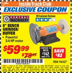 "Harbor Freight ITC Coupon 8"" BENCH GRINDER/BUFFER Lot No. 94327 Dates Valid: 5/3/19 - 5/31/19 - $59.99"
