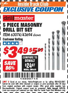 Harbor Freight ITC Coupon 5 PIECE MASONRY DRILL BIT SET Lot No. 63074/43694 Expired: 5/31/18 - $3.49