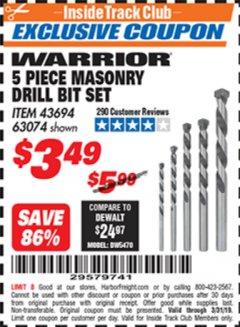 Harbor Freight ITC Coupon 5 PIECE MASONRY DRILL BIT SET Lot No. 63074/43694 Expired: 3/31/19 - $3.49